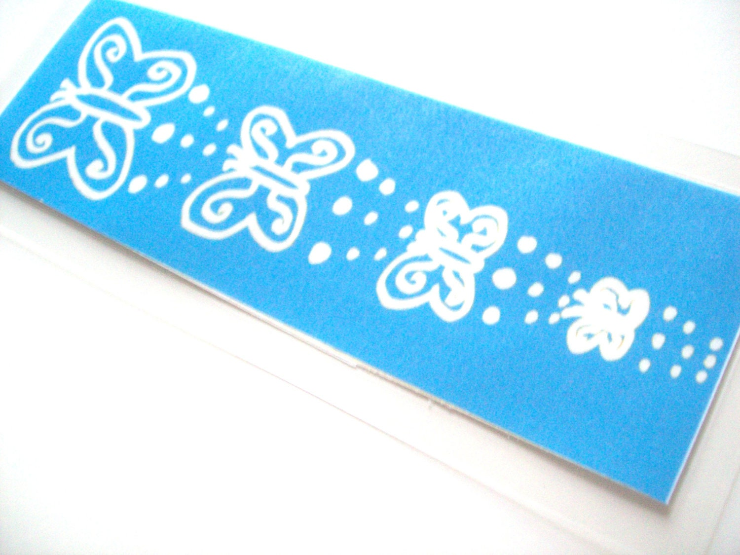 Laminated Bookmark Blue and White Butterfly Dots