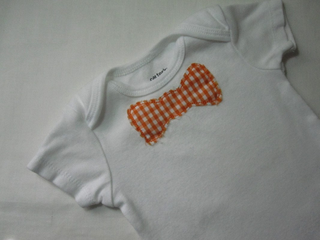 Bright Orange Plaid Bow Tie Onesie