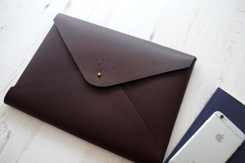 MONOGRAM A4 Leather Document Portfolio Case Letter Paper Tablet Folder Holder Custom  Chocolate