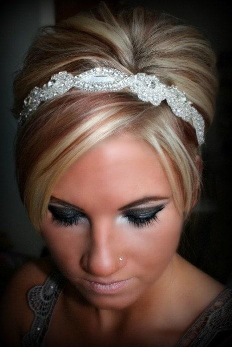 Wedding Hair With Rhinestone Headband : Sweetheart bridal rhinestone headband wedding by