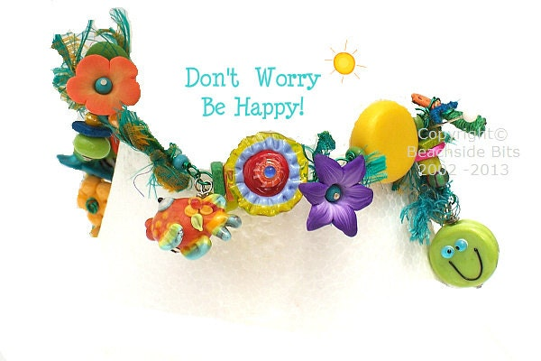 Popular items for whimsical bracelet on etsy for Dont worry be happy fish
