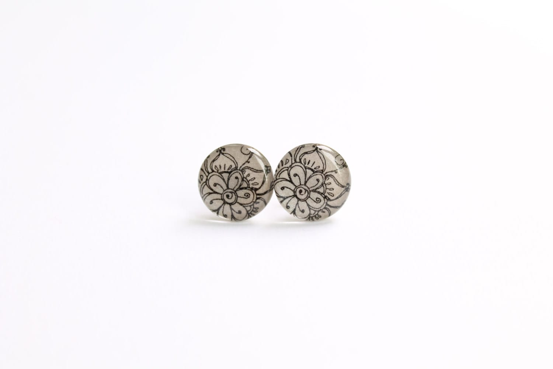 Studs, silver gray stud earrings, gray earrings, indian flower studs, asian oriental earrings, gray europeanstreetteam