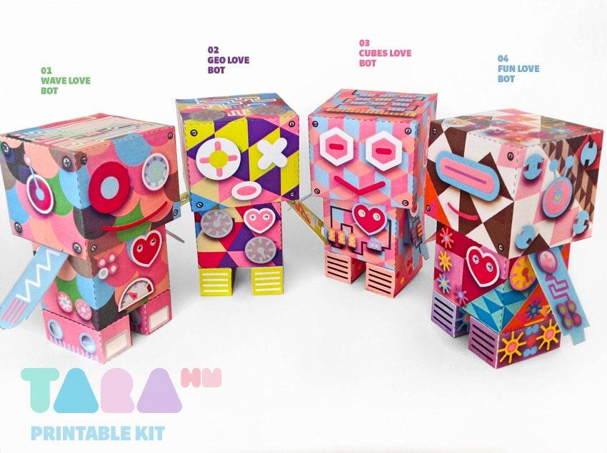 Set de 4 Robots Recortables, Spring TaraBots, Juguete de Papel DIY, Robots Imprimibles, Juguete Educativo Didáctico, Hazlo tu mismo