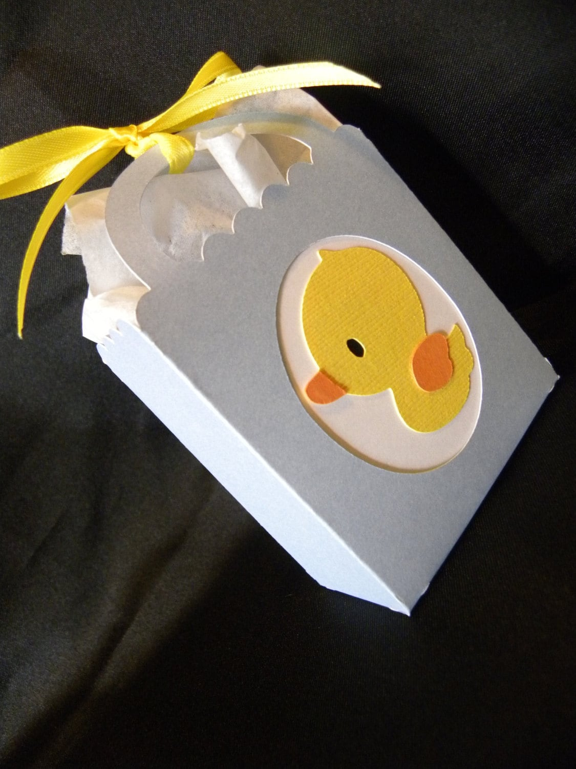 baby shower treat bag box boy or girl with die cut mount