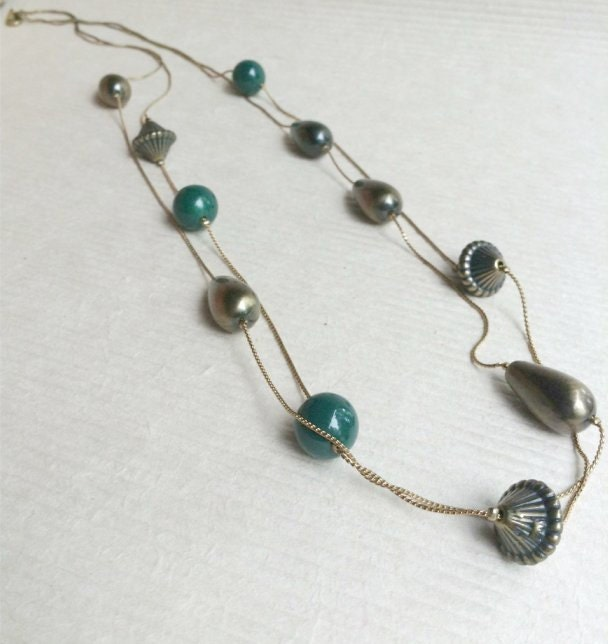 "Sale. 1970s Long Vintage Brass beaded Necklace. Two strands of beads. 36"" in length. Brass. Green. - VintageBlueSky"