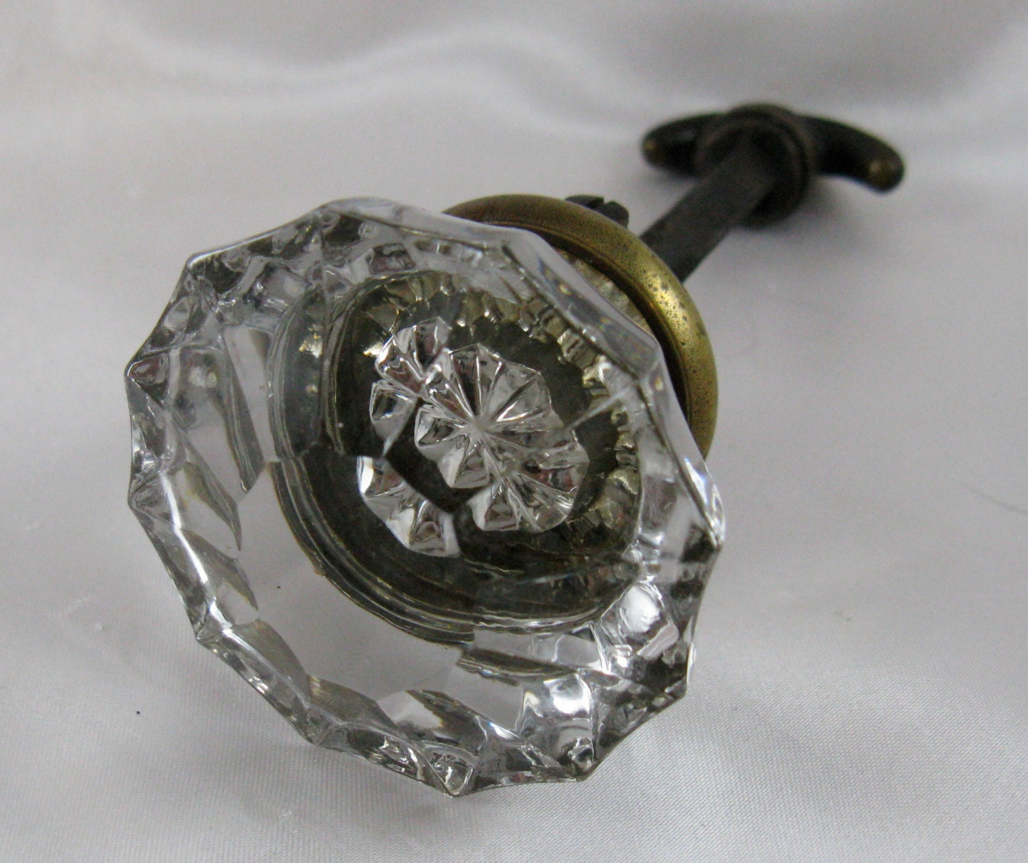 Vintage 1920s clear glass door knob and brass by for 1920 door knobs