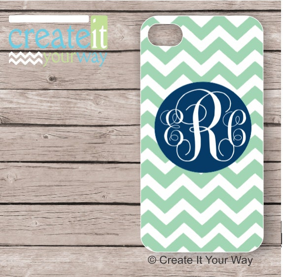 iPhone 4 Case, monogram iPhone 4s case, chevron iPhone 4 case, personalized iPhone 4 case, iPhone 4s case with initials - mint navy (iM3039)