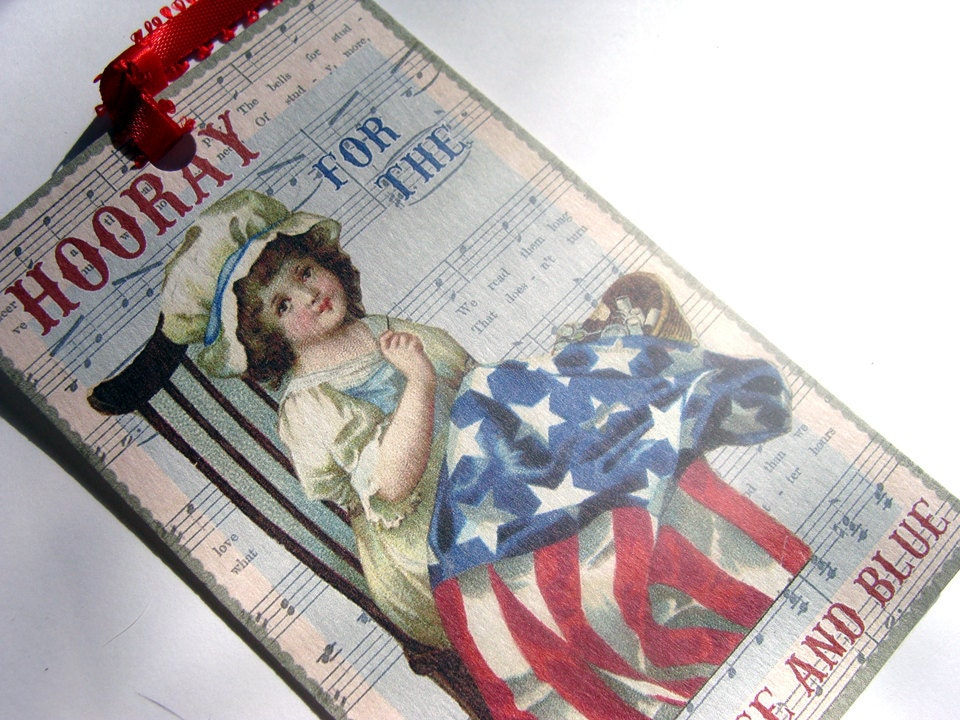 Patriotic Tags Vintage Style 4th of July  Set of 6 - SiriusFun