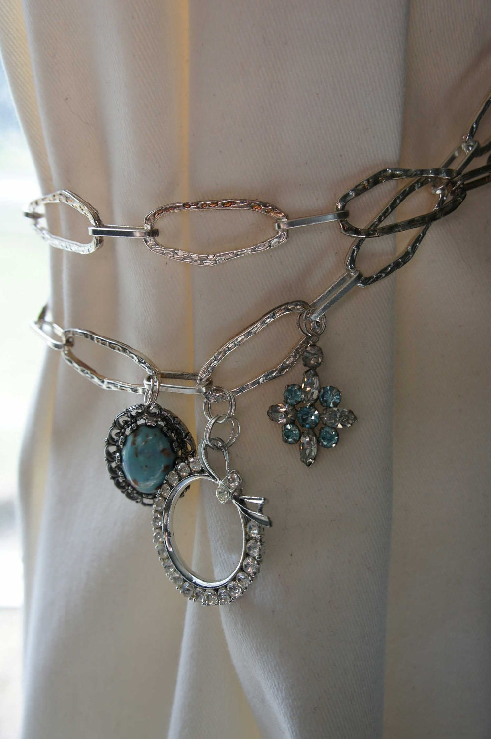 Items similar to curtain tieback silver blue chain metal for Bling jewelry coupon code