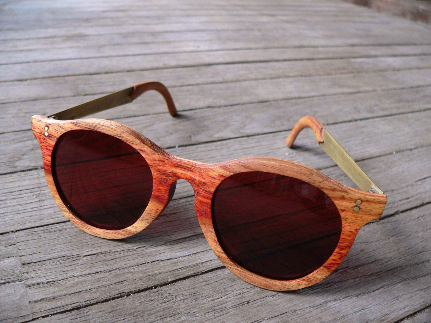 Wood eye glasses Wood and Brass frames Rx/Sunglasses Vinhatico