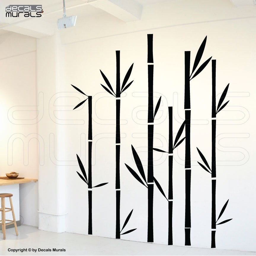Wall decals geometric bamboo wall stickers vinyl by for Bamboo mural walls