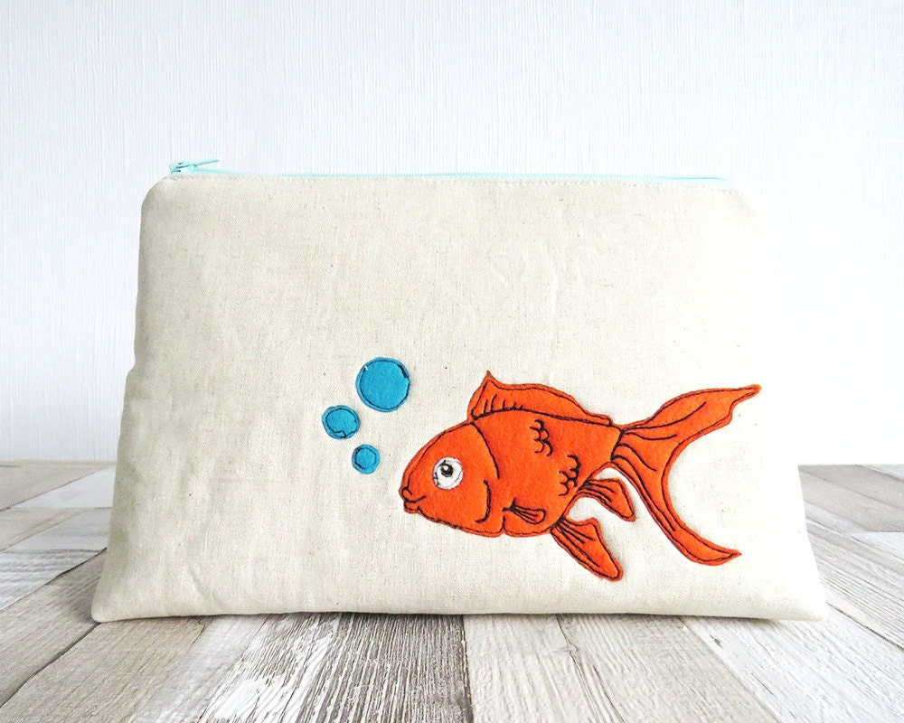 Wash bag goldfish makeup bag zipped purse cosmetics bag makeup bag cosmetics purse orange fish turquoise toiletry bag makeup purse