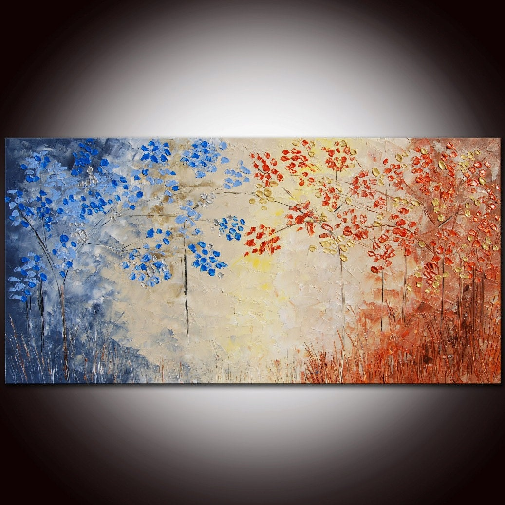 Original Modern Abstract Forest Large Impasto Painting 48x24 by Helen