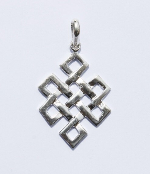 tibetan endless knot silver plated pendant by tibetanbeadstore