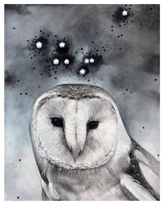 Noctua the Little Owl - Constellation Art Print - stoneandviolet