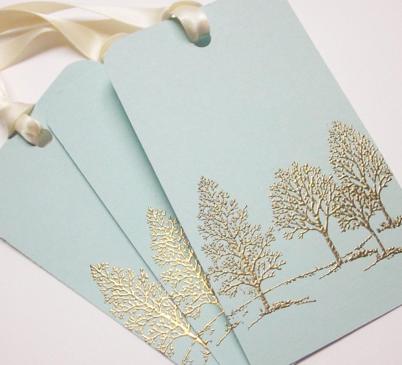 Embossed Wedding Gift Tags : Tree Wedding Wish tree tags Gift Tags favor tagsGold Embossed ...