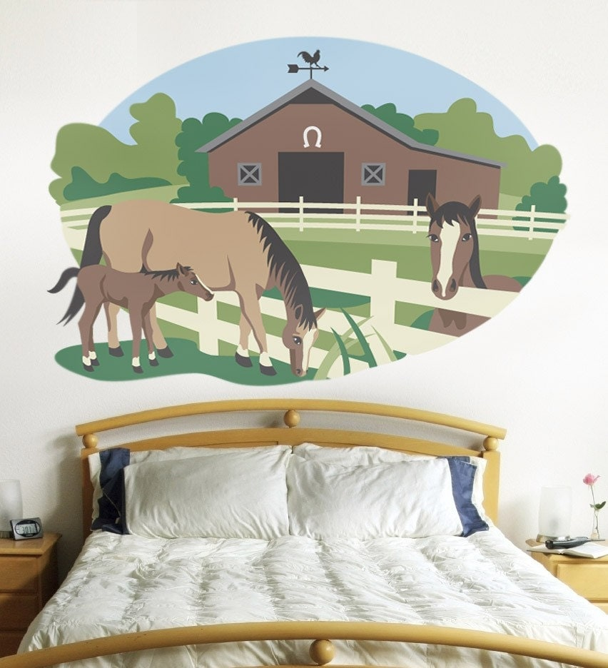 Wall murals for kids rooms horse mural paint by by for Equestrian wall mural