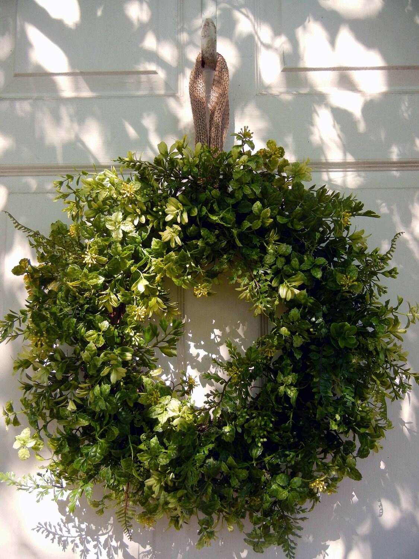 Summer wreath spring wreaths boxwood and fern wreath front door