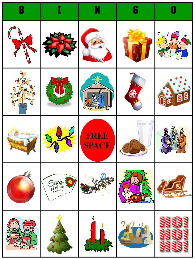 Clean image within free christmas bingo cards printable