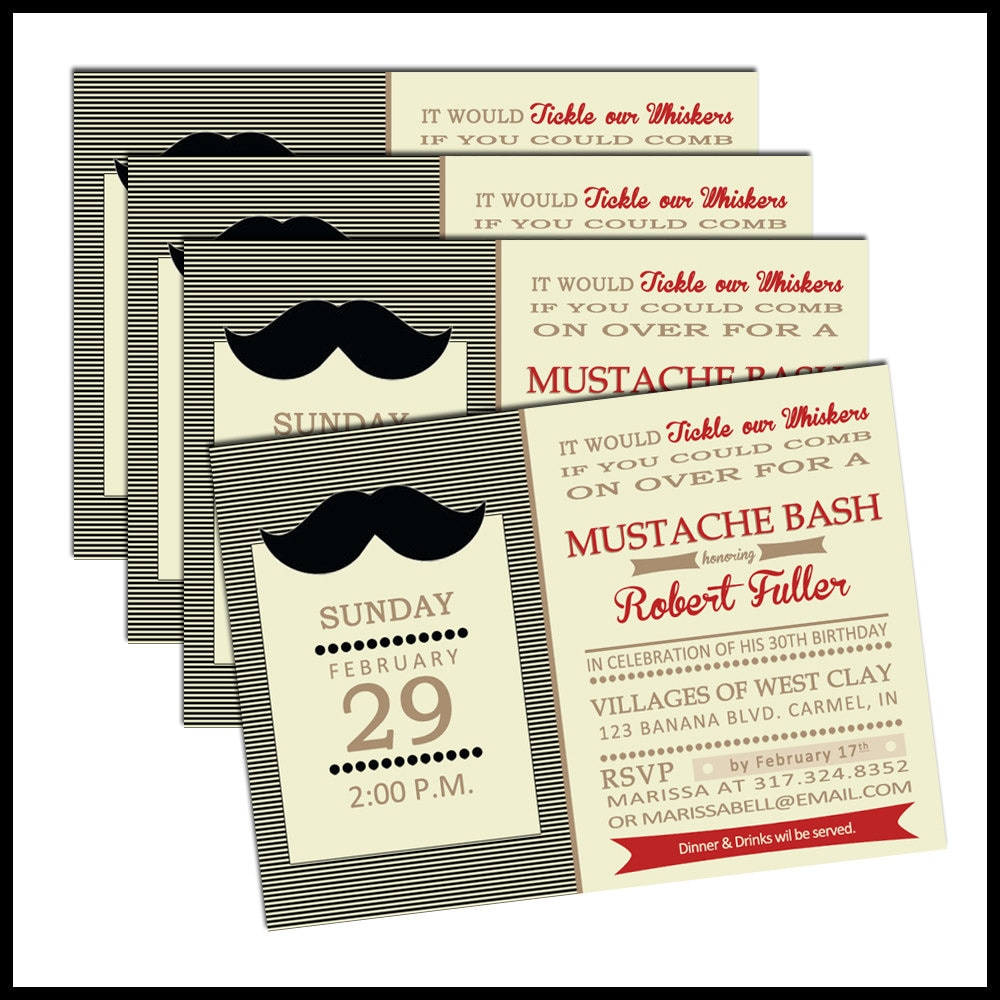 Moustache Party Invitations with beautiful invitation layout