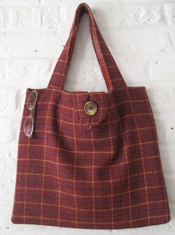 Handmade Recycled Rust Tweed Bag