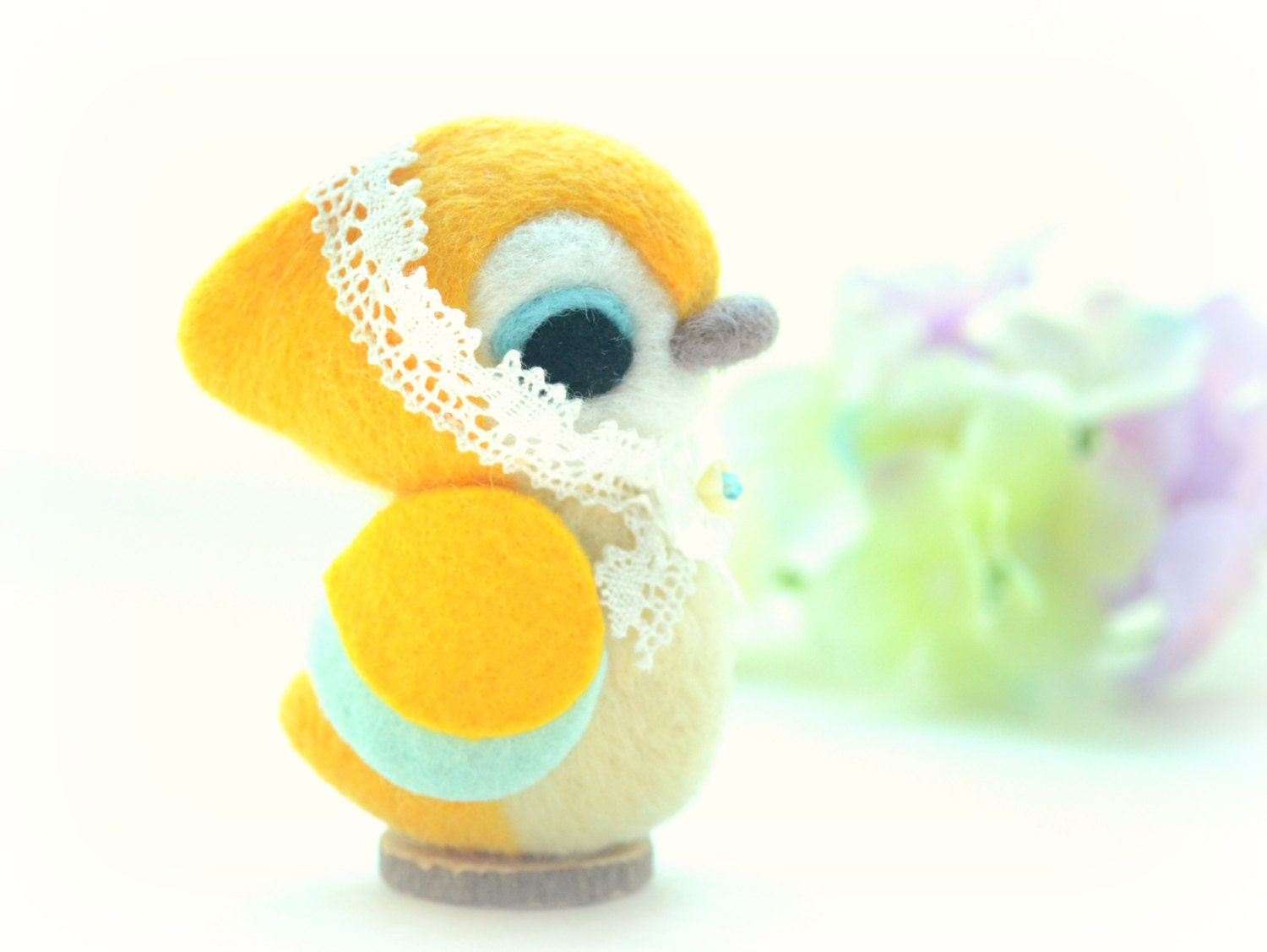 Handmade soft sculpture bird doll, needle felt bird, nursery decor toy, home decor ornament, yellow & blue, gift under 25, stocking stuffer - NozomiCrafts