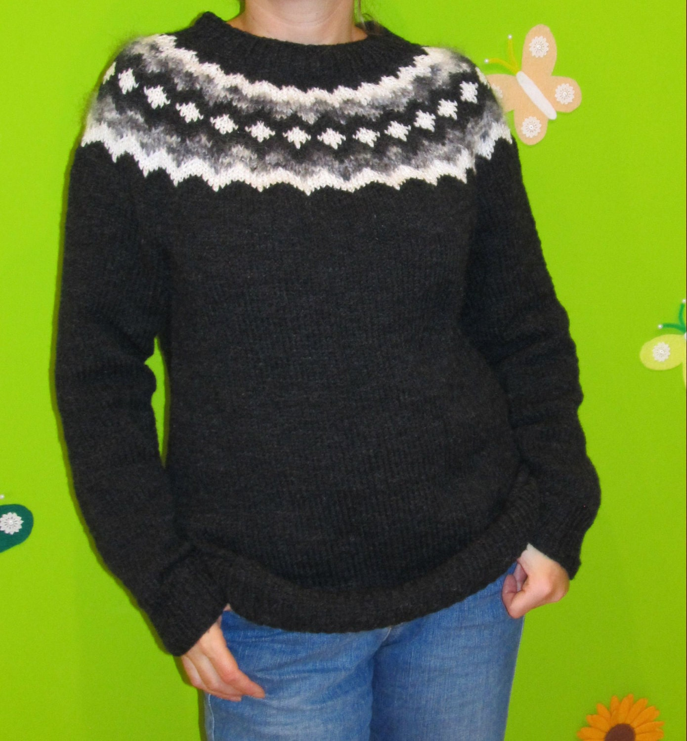 Hand Knit Sweater Patterns : Hand knit sweater with Icelandic pattern by Hladisek on Etsy