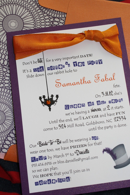 Purple and Orange Mad Hatter Bridal Shower Invitations