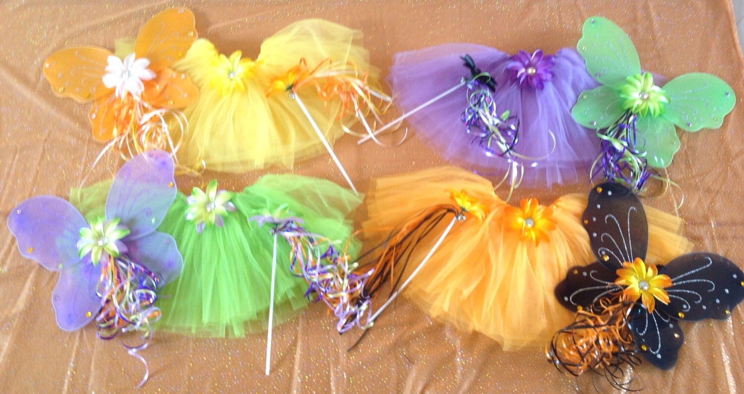 8 Halloween Fairy Princess Wands Orange, Black, Purple and Green Ribbon with Flower Halloween Party Favors