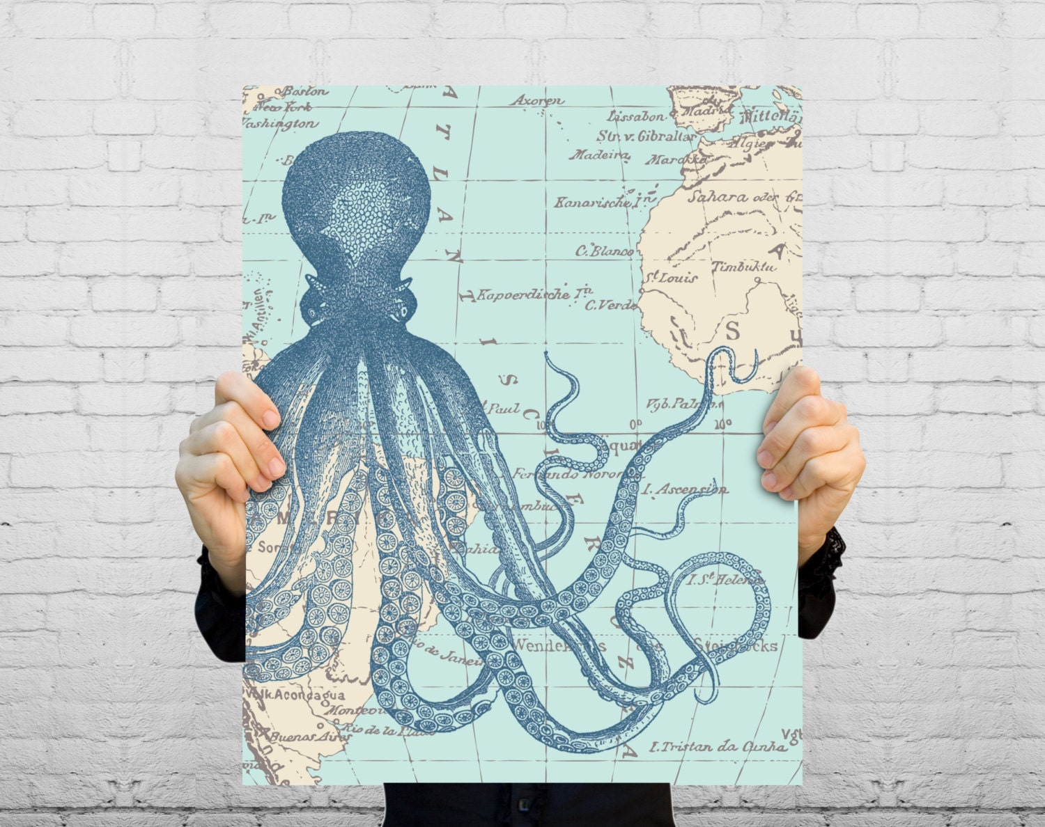 Nautical Map Octopus Art Print - Nautical Beach House Bathroom Art - Sea Life and Antique Vintage Ocean Map - Mixed Media - BySamantha
