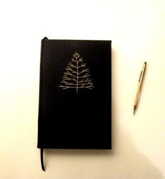 alder winter Christmas tree journal - embroidered black - christopherbound