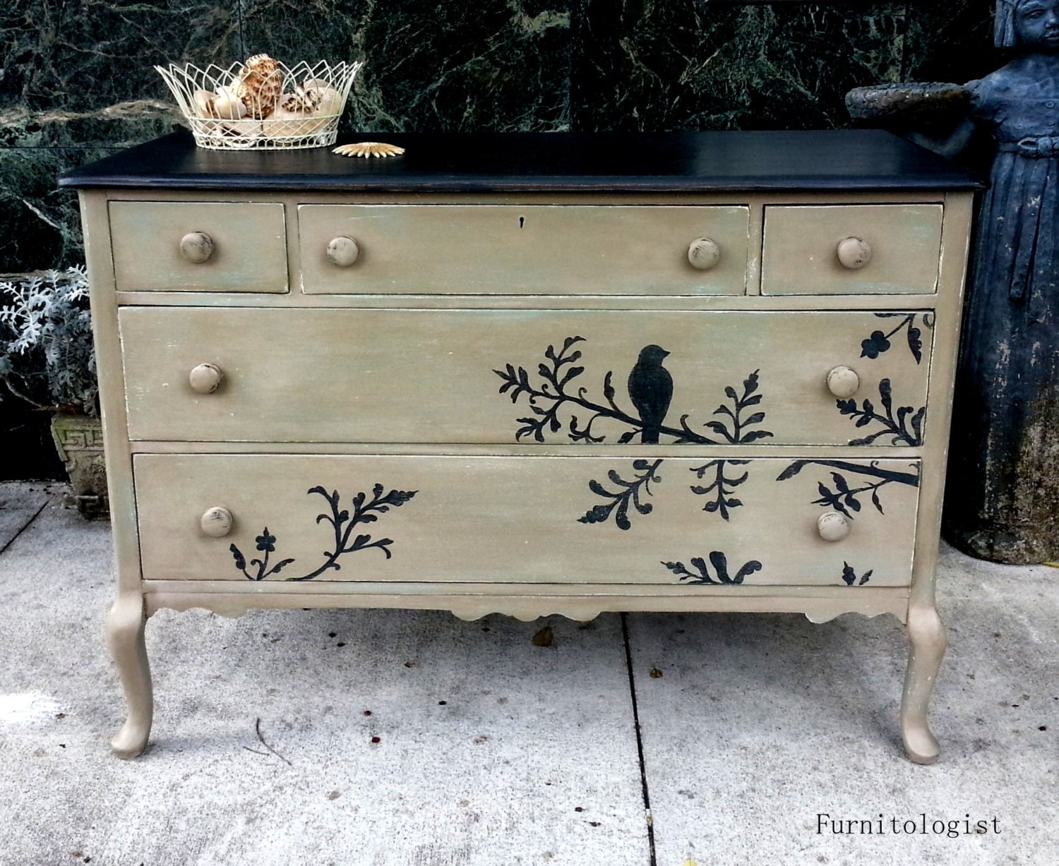 Solid Wood Hand Painted Taupe Black Distressed By