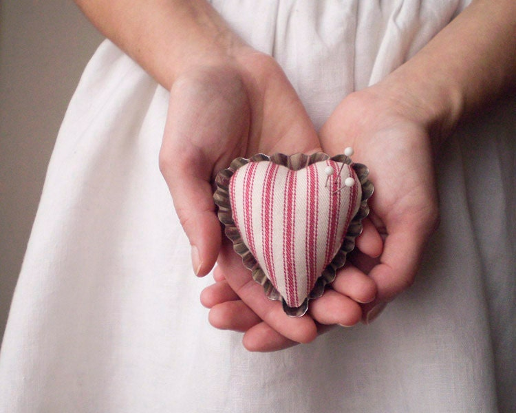 Petite Heart Pincushion - Rustic Red Ticking and Vintage Swedish Tartlet Tin - smilemercantile