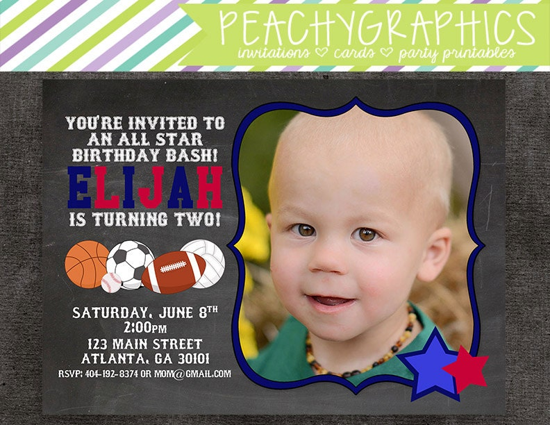 All Star Sports Chalkboard Printable Birthday Party Invitation with Photo
