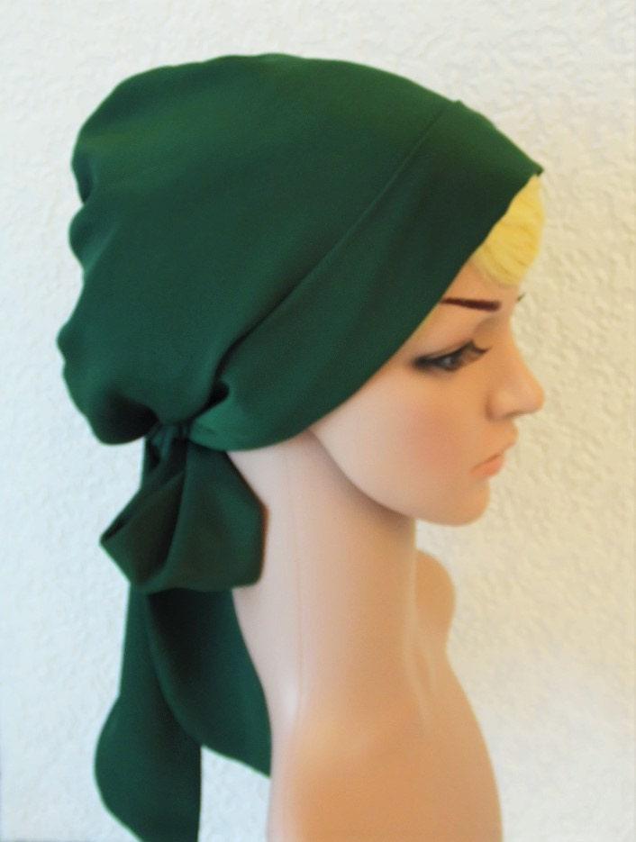 Tichel bad hair day head scarf Jewish women head snood hair wrap green hair bonnet hair covering head covering