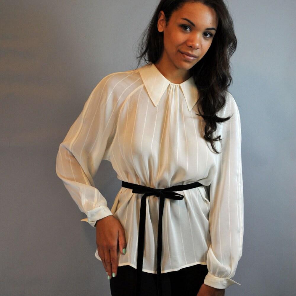 Luxury  Womens Semi Sheer Chiffon Button Down Pocket Utility Shirt Blouse