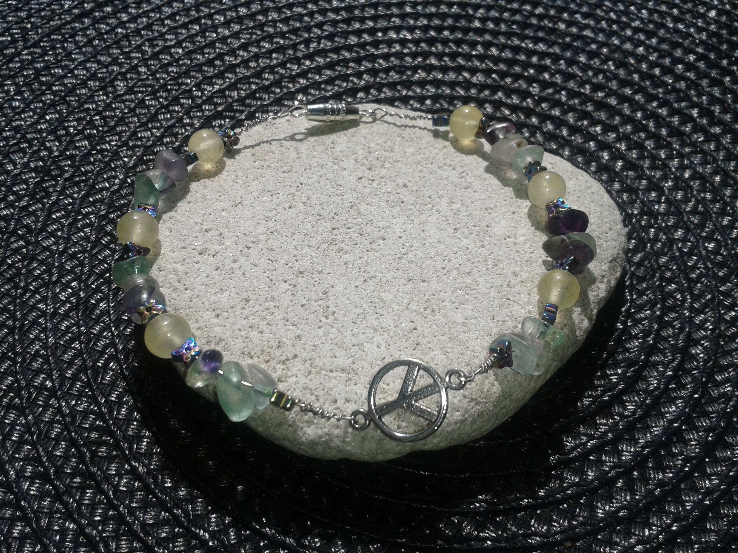Fluorite chipYellow Quartz and Hematite butterfly Healing Crystal Bracelet with Peace sign