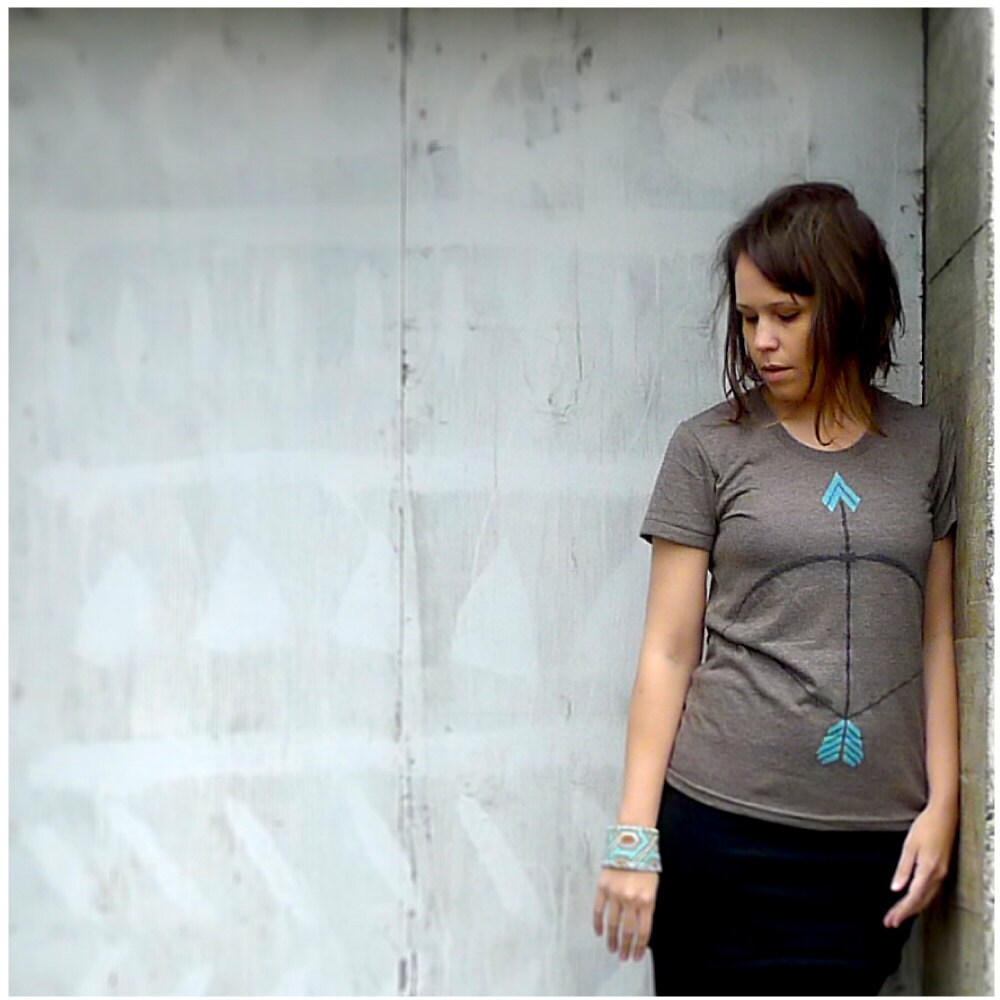 The Headhunter - tshirt for women - turquoise and brown - tribal bow and arrow screenprint on American Apparel track tees - S/M/L/XL - blackbirdtees