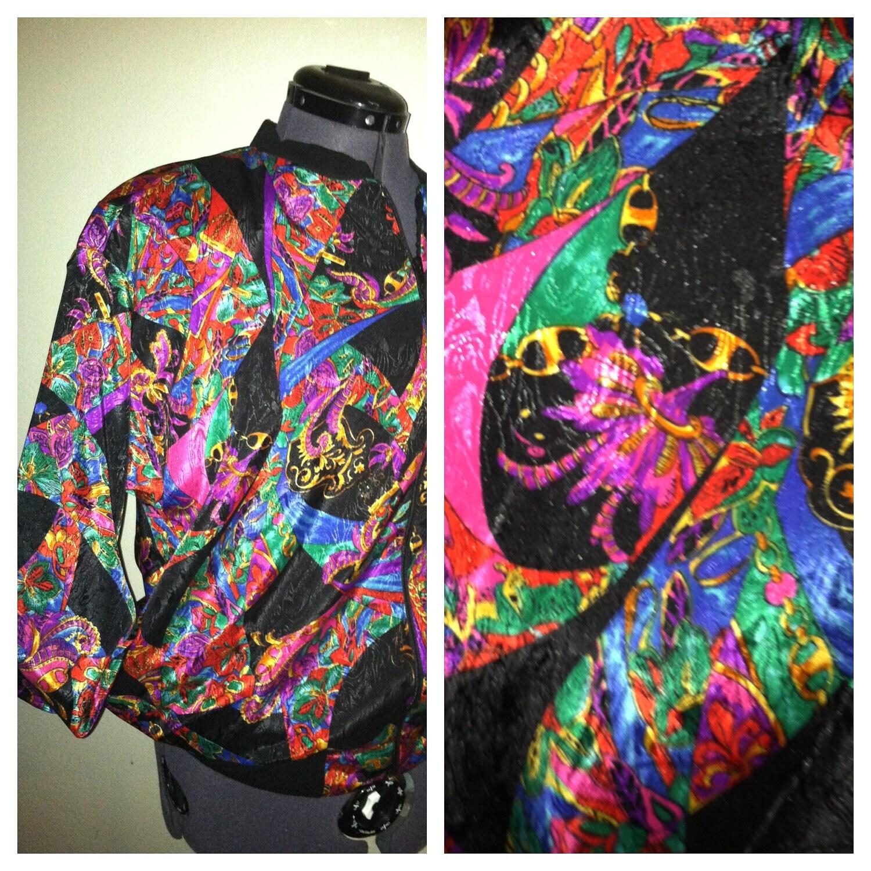 vintage 80s silky track jacket hip hop by crystalscloset74