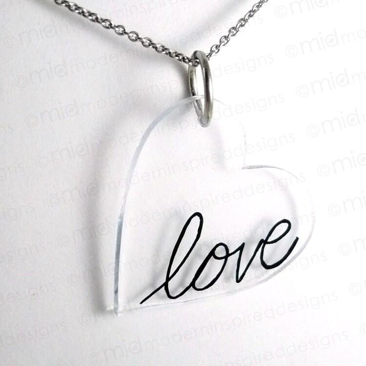 Cursive Love Heart Valentine's day - cursive love heart pendant ...