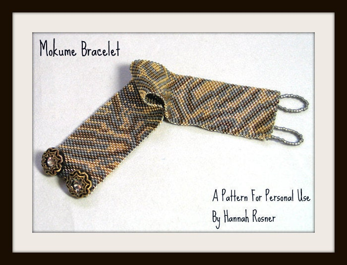 Hannah Rosner cuff bracelet bead pattern peyote stitch Mokume Gane