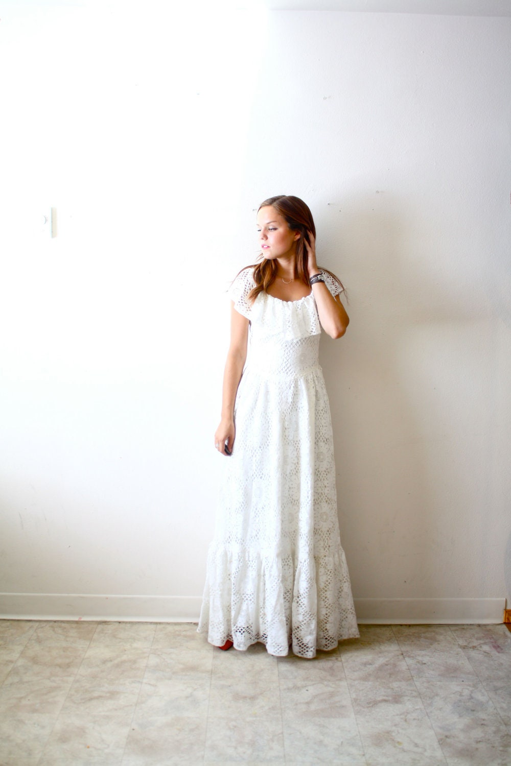 Vintage Chic Wedding Dress : Vintage wedding dress shabby chic boho all lace floral a line fit