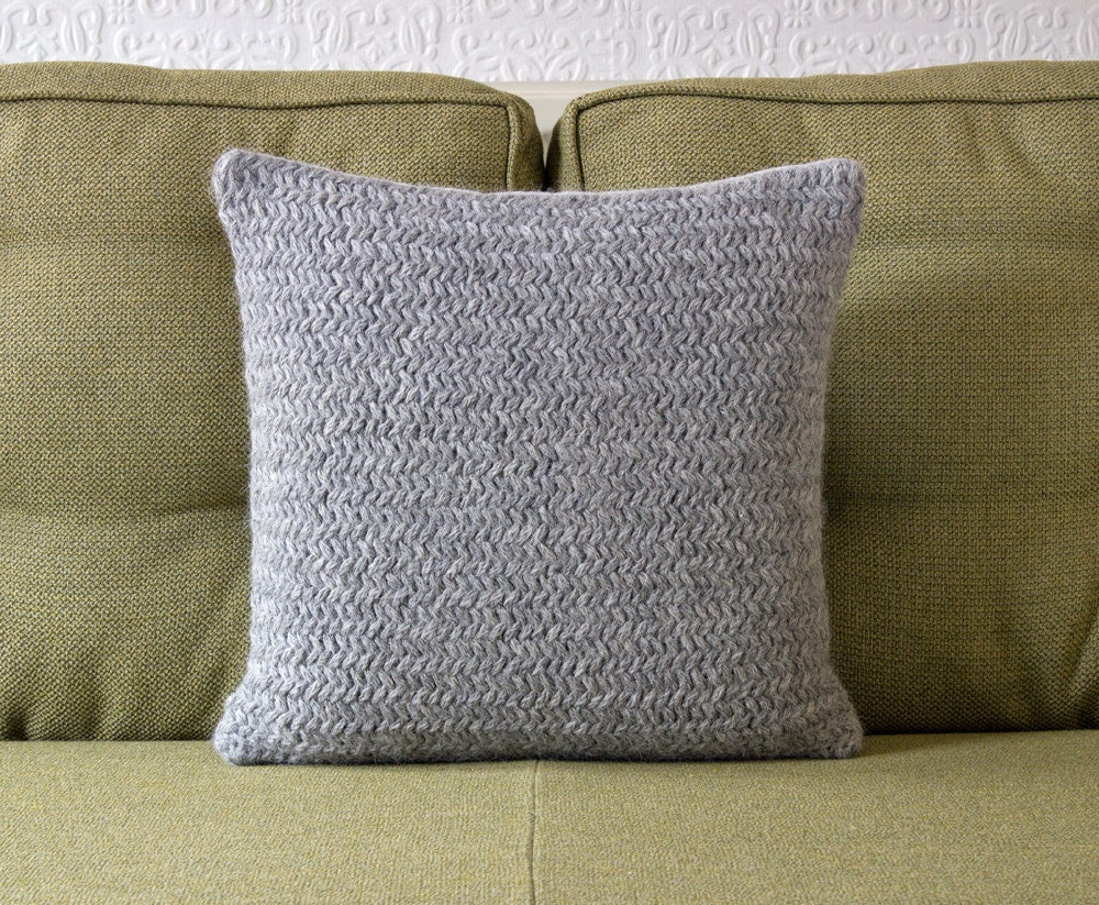 Pale Grey Hand Knitted Pillow / Cushion Cover by LittleMoscowandCo