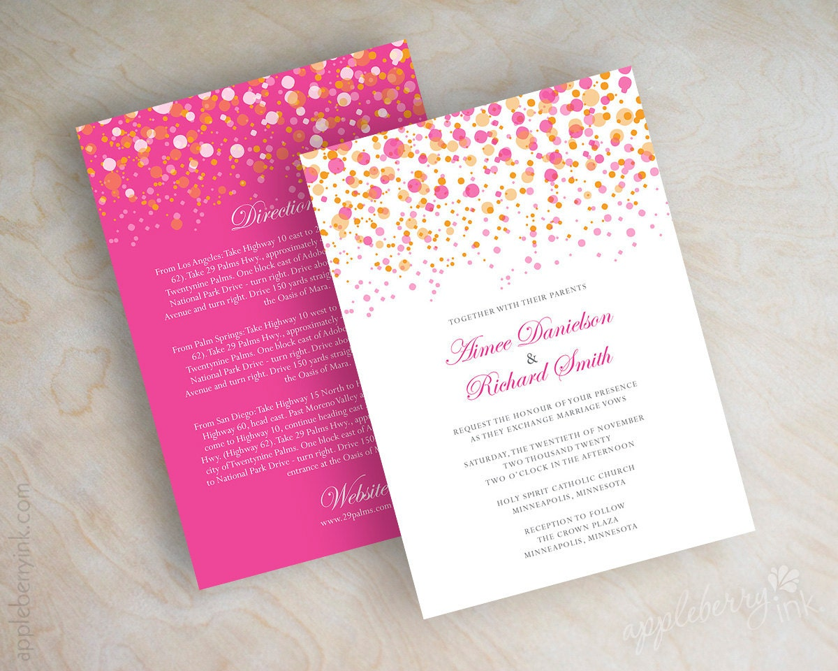 Pink And Orange Polka Dot Wedding Invitation By Appleberryink