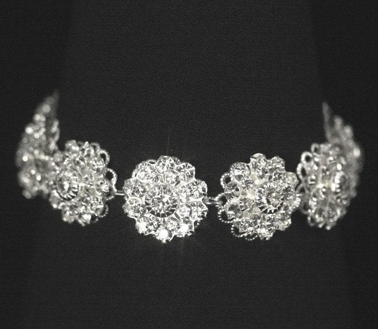 Bridal Flower Bracelet : Items similar to rhinestone bridal bracelet vintage