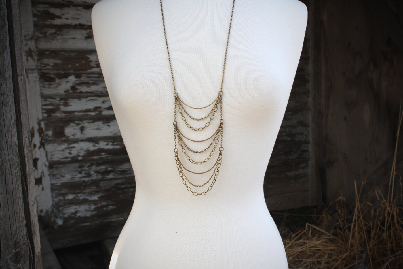 Layered Brass Chain Necklace