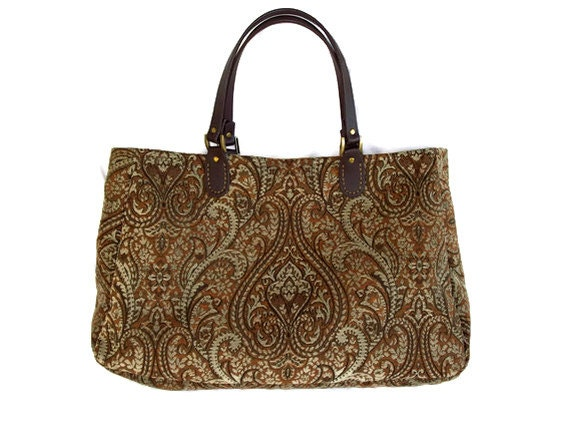Large Carpet Bag Brown Rust  Aqua