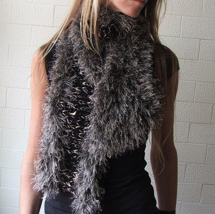 Black and Gold faux fur scarf wrap LAST ONE with the gold thread