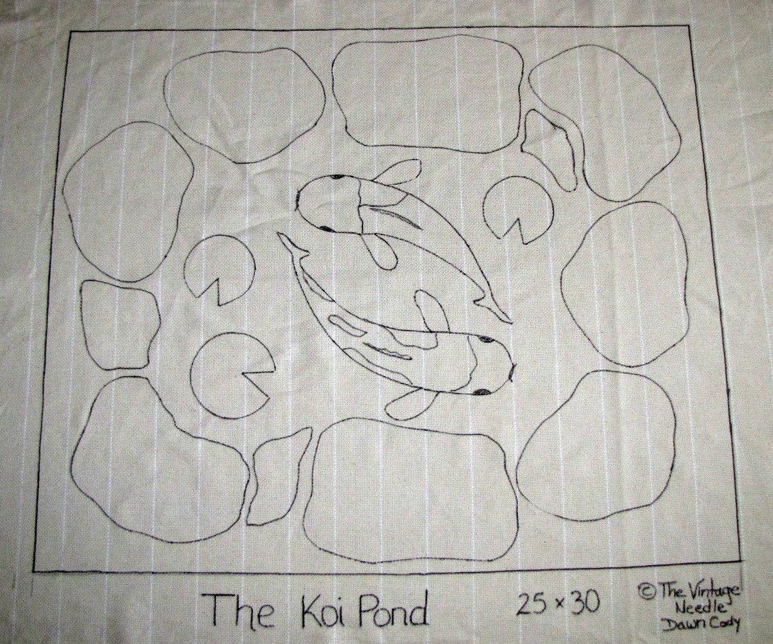 The Koi Fish Pond Rug Hooking Hooked Rug Pattern