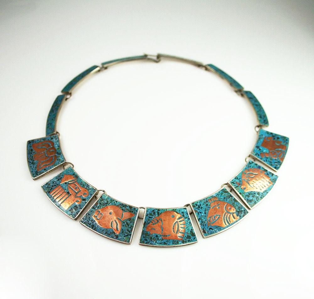 Vintage AEM Mexican Sterling Silver Turquoise Copper Aztec Style Necklace - zephyrvintage